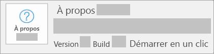 La capture d'écran montrant la version et sous-version correspond à Démarrer en un clic