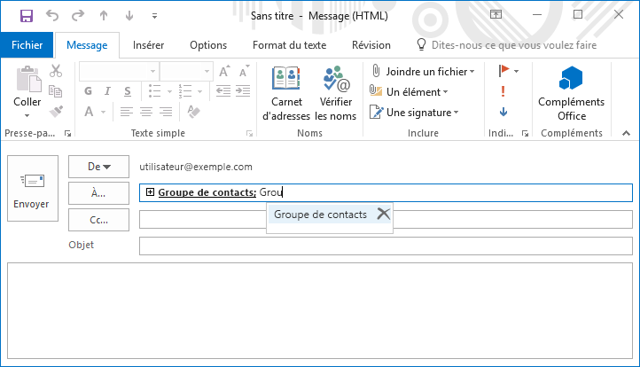 Groupe de contacts résolu via autocomplete