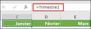 """Utilisez une constante de matrice nommée dans une formule, telle que = Trimestre1, où Trimestre1 a été défini comme = {""""January"""", """"février"""", """"March""""}"""