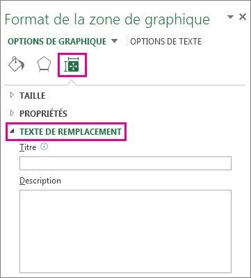 Onglet Taille et propriétés du volet Format de la zone de graphique