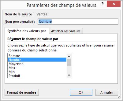 Boîte de dialogue Paramètres des champs de valeurs
