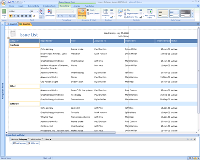 Modification de rapports dans Office Access 2007