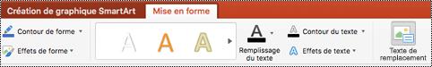 Bouton texte de remplacement pour un graphique SmartArt sur le ruban de PowerPoint pour Mac