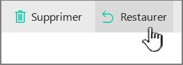 SharePoint Online - Bouton Restaurer mis en évidence