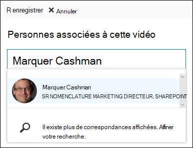 Office 365 vidéo associer des personnes