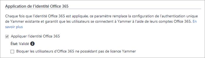 Capture d'écran de la case à cocher Bloquer les utilisateurs d'Office365 ne possédant pas de licence Yammer dans les paramètres de sécurité de Yammer