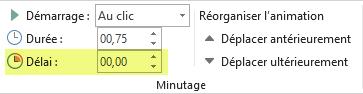 Option Délai pour les effets d'animation dans PowerPoint