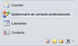 bouton du Gestionnaire de contacts professionnels dans le volet de navigation