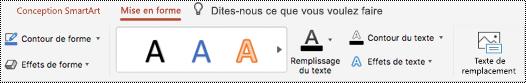 Bouton texte de remplacement dans le ruban d'un graphique SmartArt dans PowertPoint pour Mac.