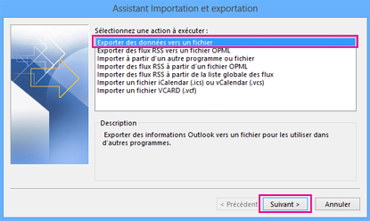 Assistant Exportation d'Outlook - Exporter vers un fichier