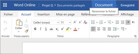 Cliquez sur la barre de titre pour modifier le nom d'un document dans Word Online
