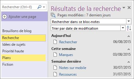 Capture d'écran des résultats de recherche de la plage de dates dans OneNote2016.