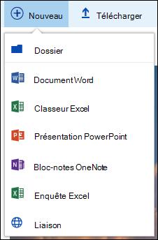 Création d'un nouveau dossier ou document dans Office 365