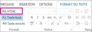 Option de format HTML sous l'onglet Format du texte dans un message