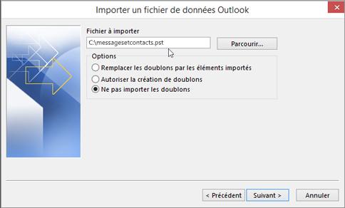 Dans cette boîte de dialogue, indiquez le nom et l'emplacement de votre fichier .pst.