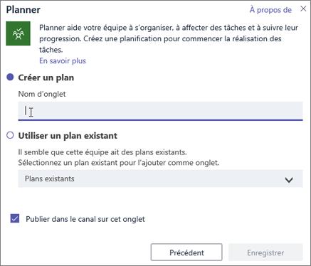 Capture d'écran de la boîte de dialogue Onglet du Planificateur dans Microsoft Teams