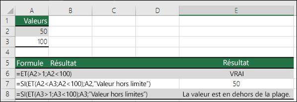 Exemples d'utilisation des fonctions SI avec ET