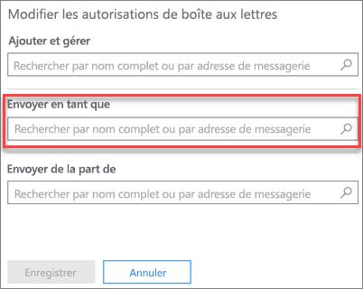 Capture d'écran: autoriser un autre utilisateur à envoyer du courrier en prenant l'identité de cet utilisateur