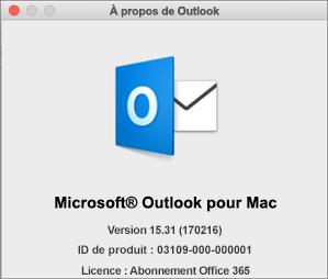 Si vous avez obtenu Outlook via Office365, la zone À propos de Outlook indique Abonnement Office365.