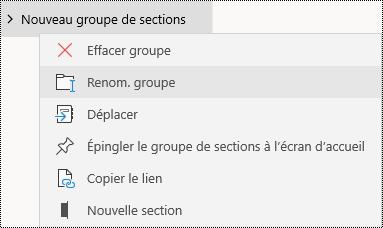 Renommer des groupes de sections dans l'application OneNote pour Windows10