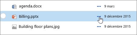 Nom du fichier mis en surbrillance dans la bibliothèque de documents