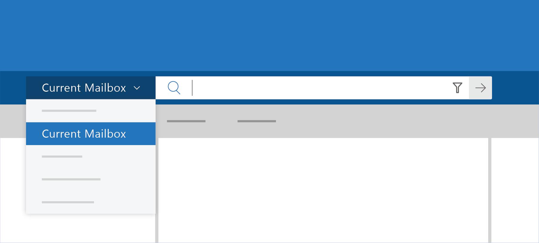 Affiche la recherche dans Outlook