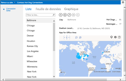 Application Bing Maps pour Office dans une application Access
