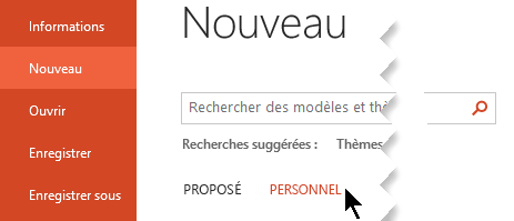 Sous fichier > nouveau, sélectionnez l'option personnel pour afficher vos modèles personnels