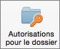 Bouton Autorisations de dossiers dans Outlook2016 pour Mac
