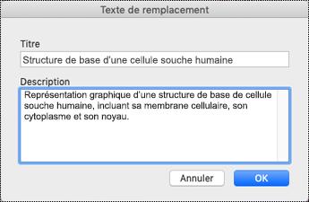 Boîte de dialogue Texte de remplacement sur Mac Sierra
