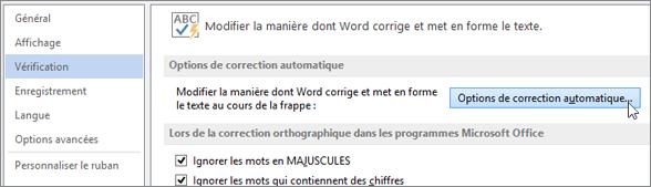 Accès à la boîte de dialogue Correction automatique
