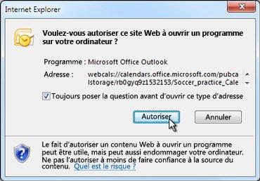 Boîte de dialogue autorisant un site Web à ouvrir un programme