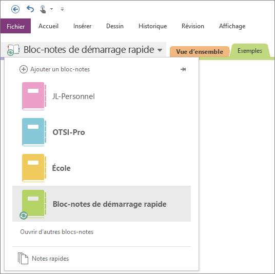Capture d'écran de la liste des blocs-notes ouverts.