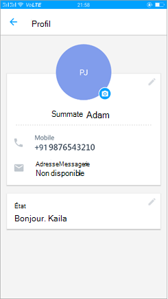 Capture d'écran de l'option profil pour mettre à jour le statut