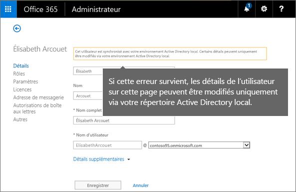 Erreur concernant la modification des détails de l'utilisateur uniquement dans Active Directory