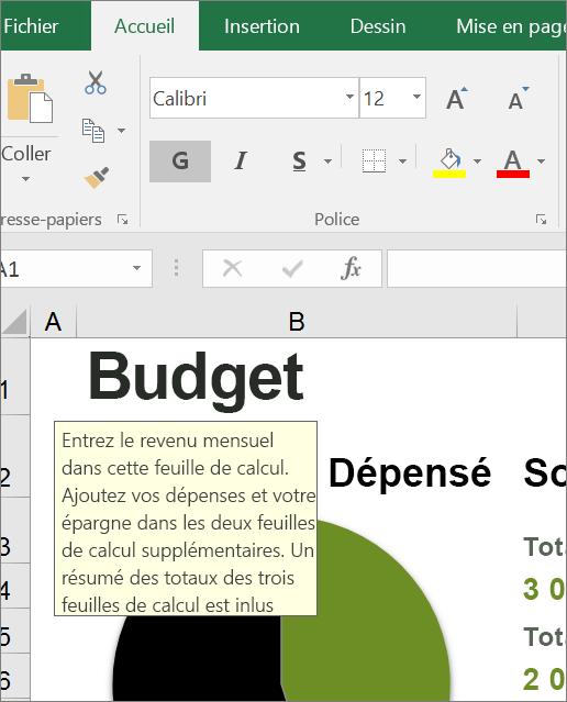 Capture d'écran de l'interface utilisateur d'Excel affichant une instruction prédéfinie