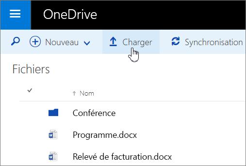 Capture d'écran du bouton Charger de OneDriveEntreprise dans Office365