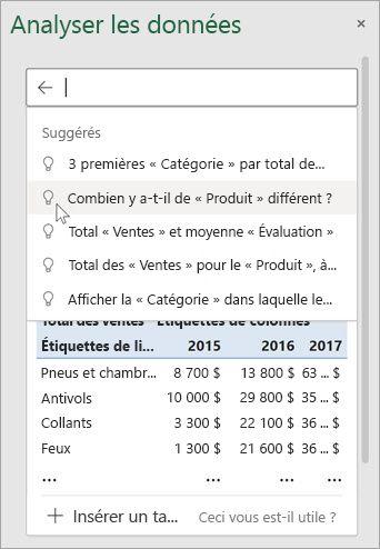 La fonction Idées d'Excel vous proposera des questions d'après l'analyse de vos données.
