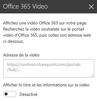 Capture d'écran de la boîte de dialogue Adresse de vidéo Office365 dans SharePoint.