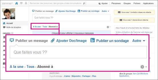 Capture d'écran du site web de Yammer avec un encadré rose mettant en évidence la possibilité de basculer entre les affichages Top, Tous et Suivi