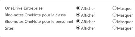 Une liste de OneDrive Entreprise, bloc-notes OneNote pour la classe, bloc-notes OneNote pour le personnel et sites avec des boutons pour afficher ou masquer.