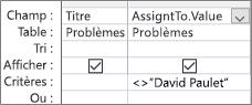 Grille de création de requête avec. Format de la valeur pour le champ liste de choix