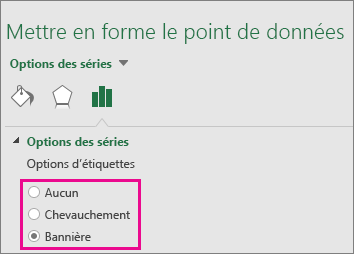 Volet Office Format d'étiquette de données affichant les options disponibles pour un graphique de compartimentage