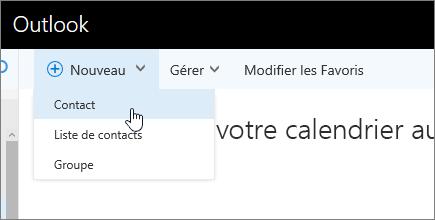 Capture d'écran de la commande Nouveau, avec l'option Contact sélectionnée.