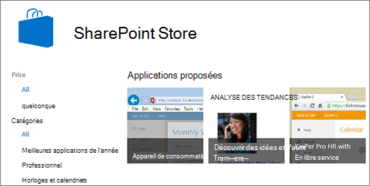 Mode de sélection de l'application SharePoint Store