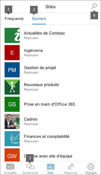 Onglet sites de l'application mobile SharePoint pour iOS