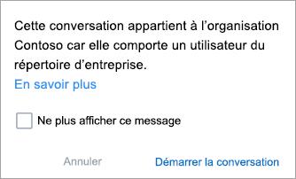 Capture d'écran montrant une notification indiquant que la conversation est une conversation de l'Organisation