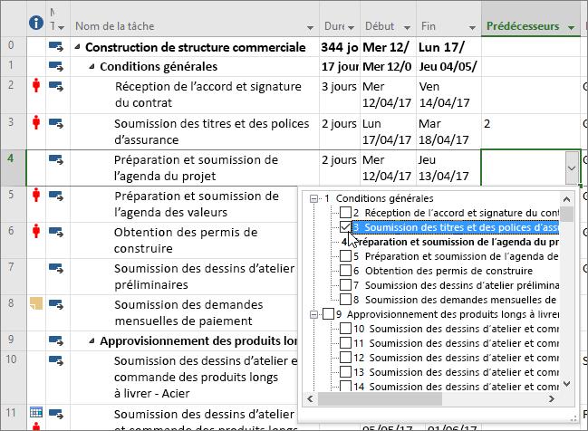 Capture d'écran du menu de liste déroulante de la colonne Prédécesseurs dans Project