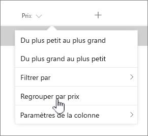 Option GROUPBY sur le menu des en-têtes de colonne