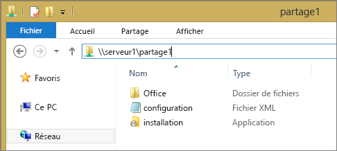 Dossier des fichiers d'installation d'Office365